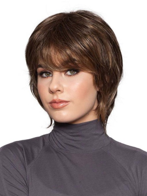 Natural Looking Women's Short Bob Hairstyles Straight Synthetic Hair Capless 8 Inches 130% Wigs
