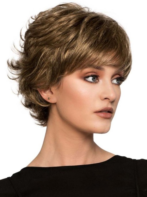 Women's Short Layered Hairstyles Natural Looking Wavy Synthetic Hair Capless 10 Inches 130% Wigs