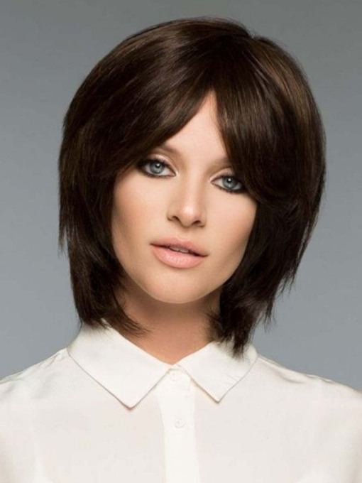 Women's Short Shaggy Hairstyles Natural Straight Synthetic Hair Capless 130% 10 Inches Wigs