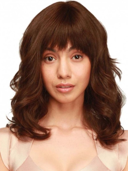 Women's Medium Layered Hairstyles Wavy Synthetic Hair Capless 130% 22 Inches Wigs