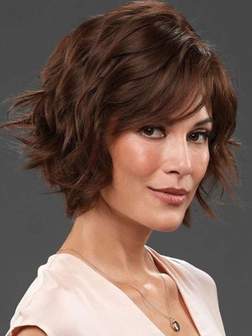 Short Layered Hairstyles Women's Wavy Synthetic Hair Capless 10 Inches 130% Wigs