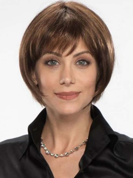 Women's Short Bob Hairstyles Straight Synthetic Hair Wigs With Bangs Capless 130% 8 Inches Wigs