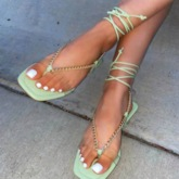 Thong Lace-Up Flat With Beach Sandals