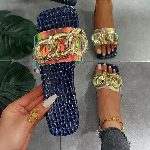 Toe Ring Flat With Slip-On Sequin Western Slippers