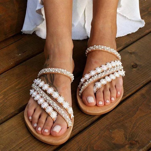 Thong Slip-On Appliques Flat With Plain Slippers