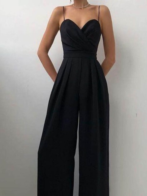 Full Length Backless Fashion Plain Wide Legs Women's Jumpsuit