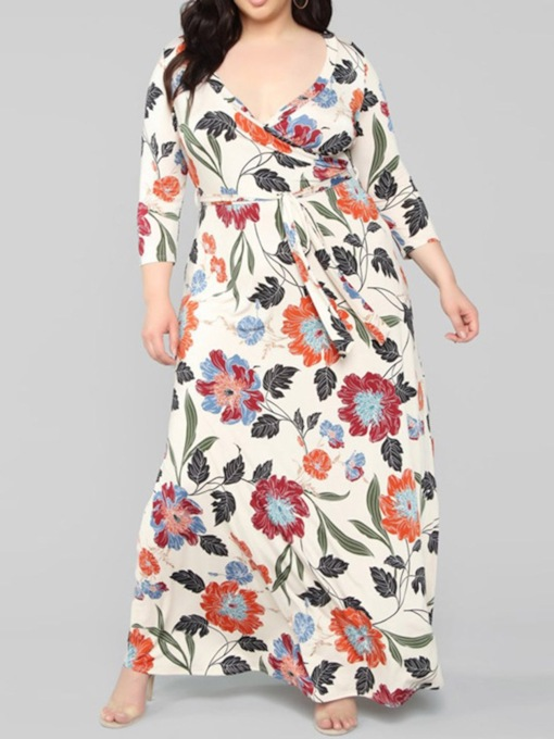 Lace-Up Floor-Length Nine Points Sleeve V-Neck Floral Women's Dress