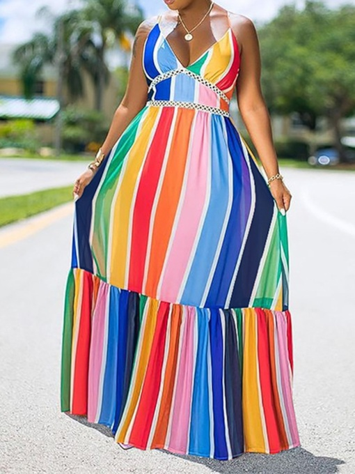 V-Neck Patchwork Floor-Length Sleeveless Fashion Women's Dress