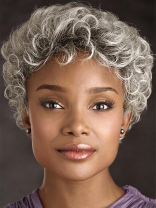 Old Women Grey Curly Short Kinky Curly Synthetic Hair Capless 8 Inches 130% Wigs