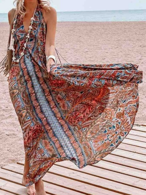 V-Neck Floor-Length Print Sleeveless Pullover Backless Women's Dress