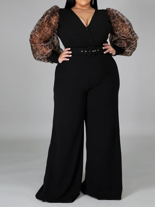 Plus Size Full Length Patchwork Plain Office Lady Wide Legs Women's Jumpsuit