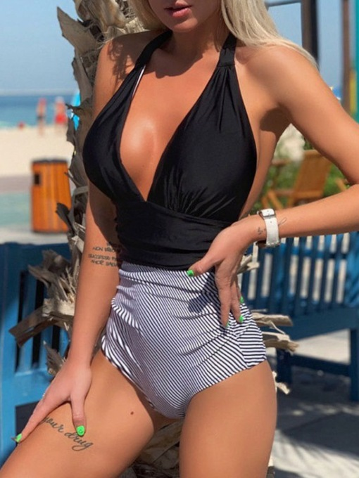 Color Block Lace-Up Sexy One Piece Women's Swimwear