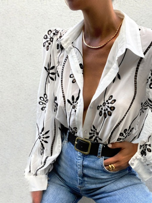 Floral Lapel Embroidery Long Sleeve Women's Blouse