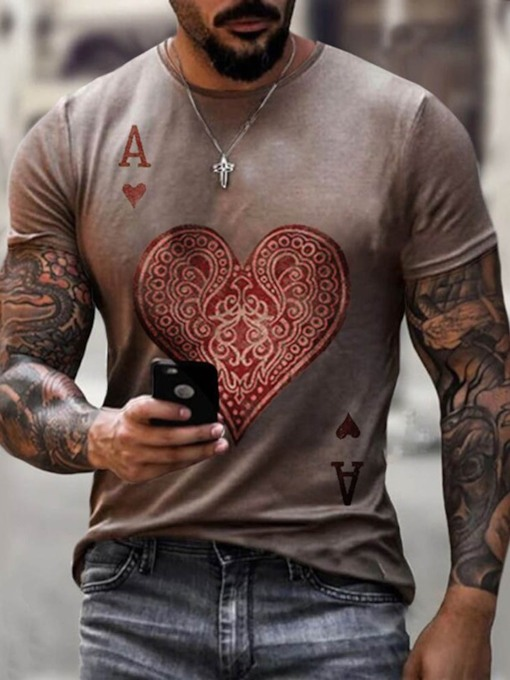 Heart Shaped Round Neck Casual Print Pullover Men's T-shirt