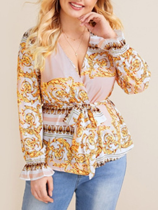 Plus Size Lace-Up Floral Flare Sleeve V-Neck Standard Women's Blouse