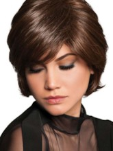 Women's Short Shaggy Layered Hairstyle Natural Straight Human Hair Capless 120% 10 Inches Wigs
