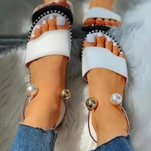 Slip-On Open Toe Flat With Plain Sandals