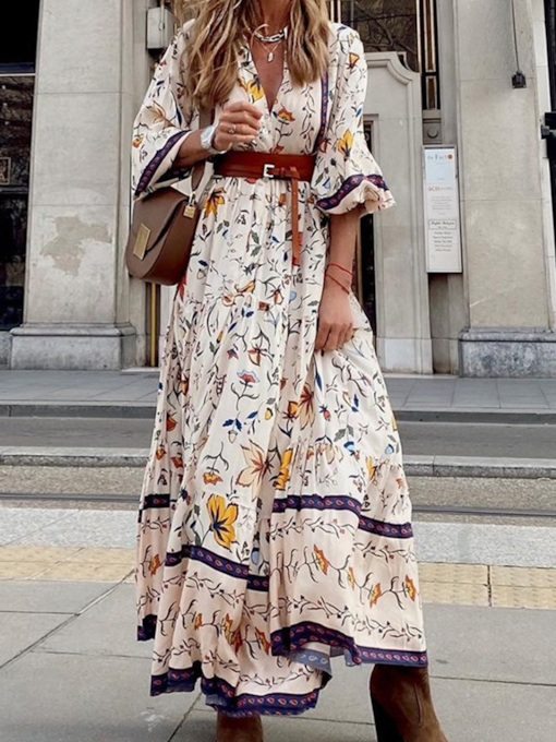 Floral Print Floor-Length Three-Quarter Sleeve Pullover Women's Dress