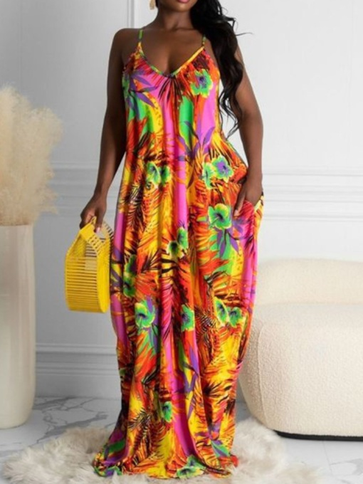 Plus Size Sleeveless Print V-Neck Floor-Length Floral Women's Dress