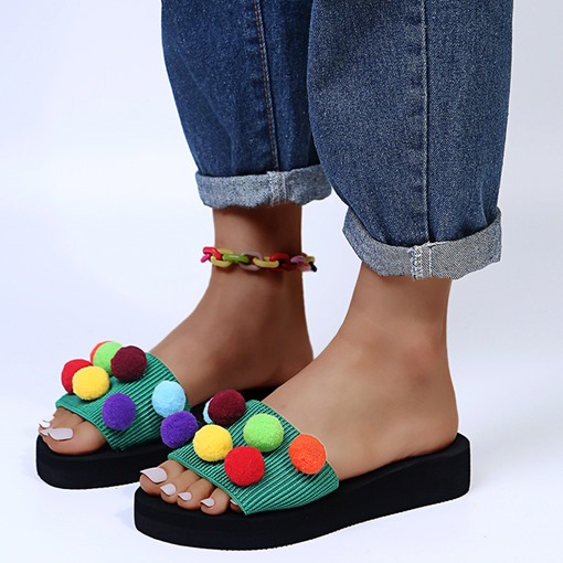 Slip-On 3D Toe Ring Flat With Summer Slippers