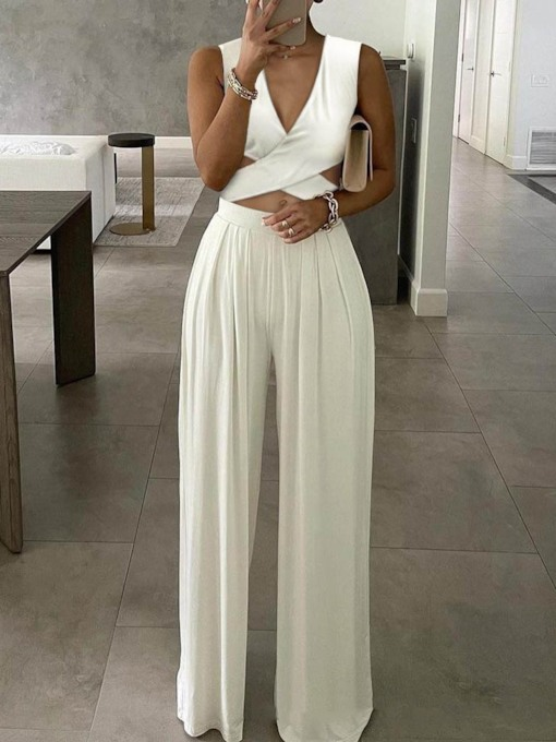 Full Length Plain Fashion Straight Women's Jumpsuit