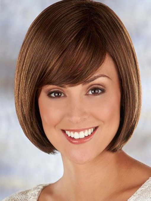 Women's Short Bob Hairstyle Straight Bob Synthetic Hair Capless 130% 10 Inches Wigs