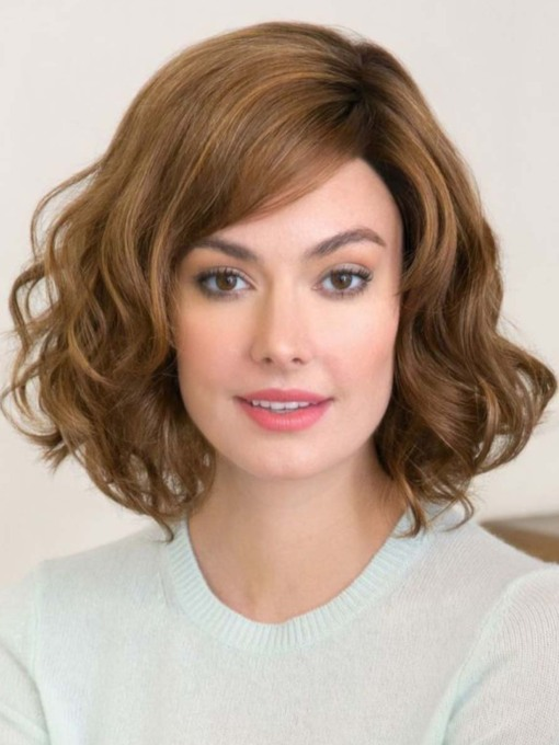 Fashion Women's Medium Hairstyle Loose Wavy Synthetic Hair Capless 130% 16 Inches Wigs