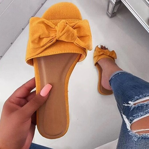 Flat With Bow Toe Ring Slip-On Summer Slippers