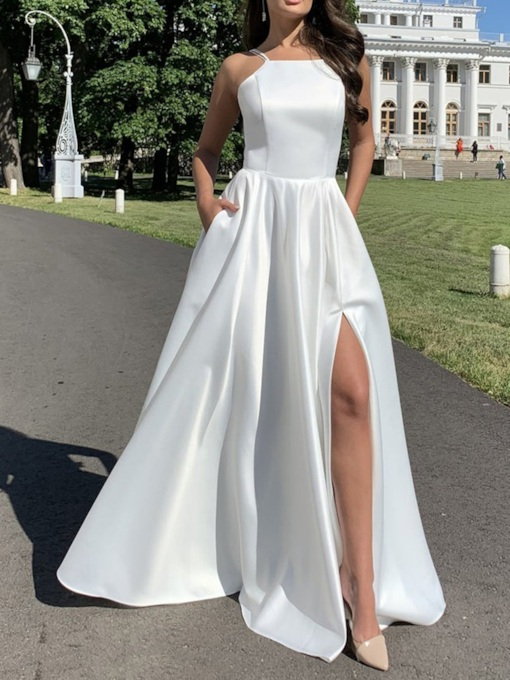 Sleeveless Square Neck Floor-Length Split Spaghetti Strap Women's Dress