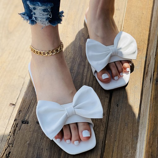 Slip-On Flat With Bow Toe Ring Casual Slippers