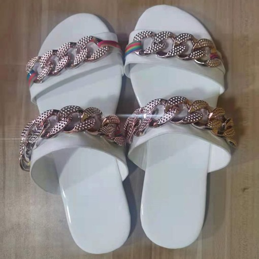 Sequin Slip-On Flat With Toe Ring Casual Slippers