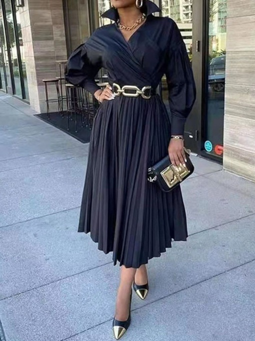 Long Sleeve Pleated Mid-Calf Long Sleeve Regular Women's Dress