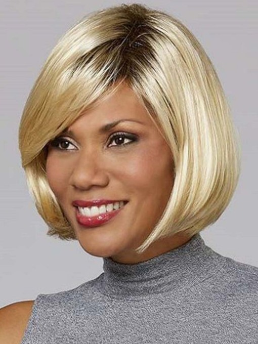 African American Women's Blonde Color Bob Straight Synthetic Hair Capless 130% 10 Inches Wigs