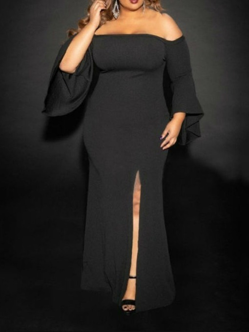 Plus SIze Long Sleeve Floor-Length Split Mid Waist Women's Dress