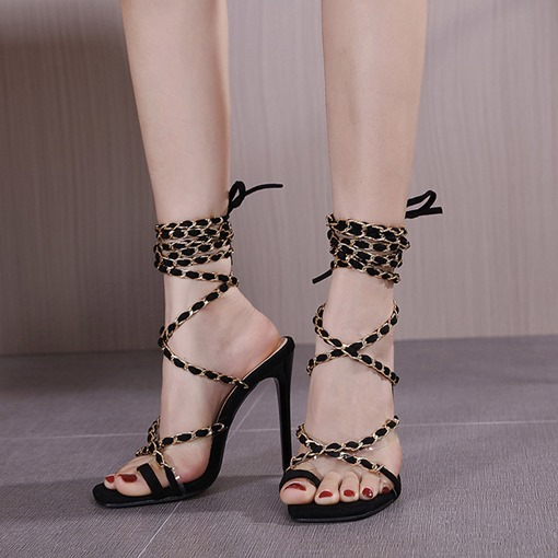 Stiletto Heel Thong Lace-Up Sequin Sandals
