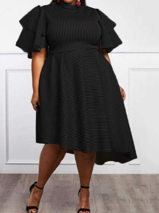 Plus Size Half Sleeve Turtleneck Patchwork Mid-Calf Stripe Women's Dress