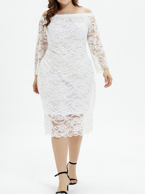 Plus Size Nine Points Sleeve Hollow Off Shoulder Mid-Calf Lace Women's Dress