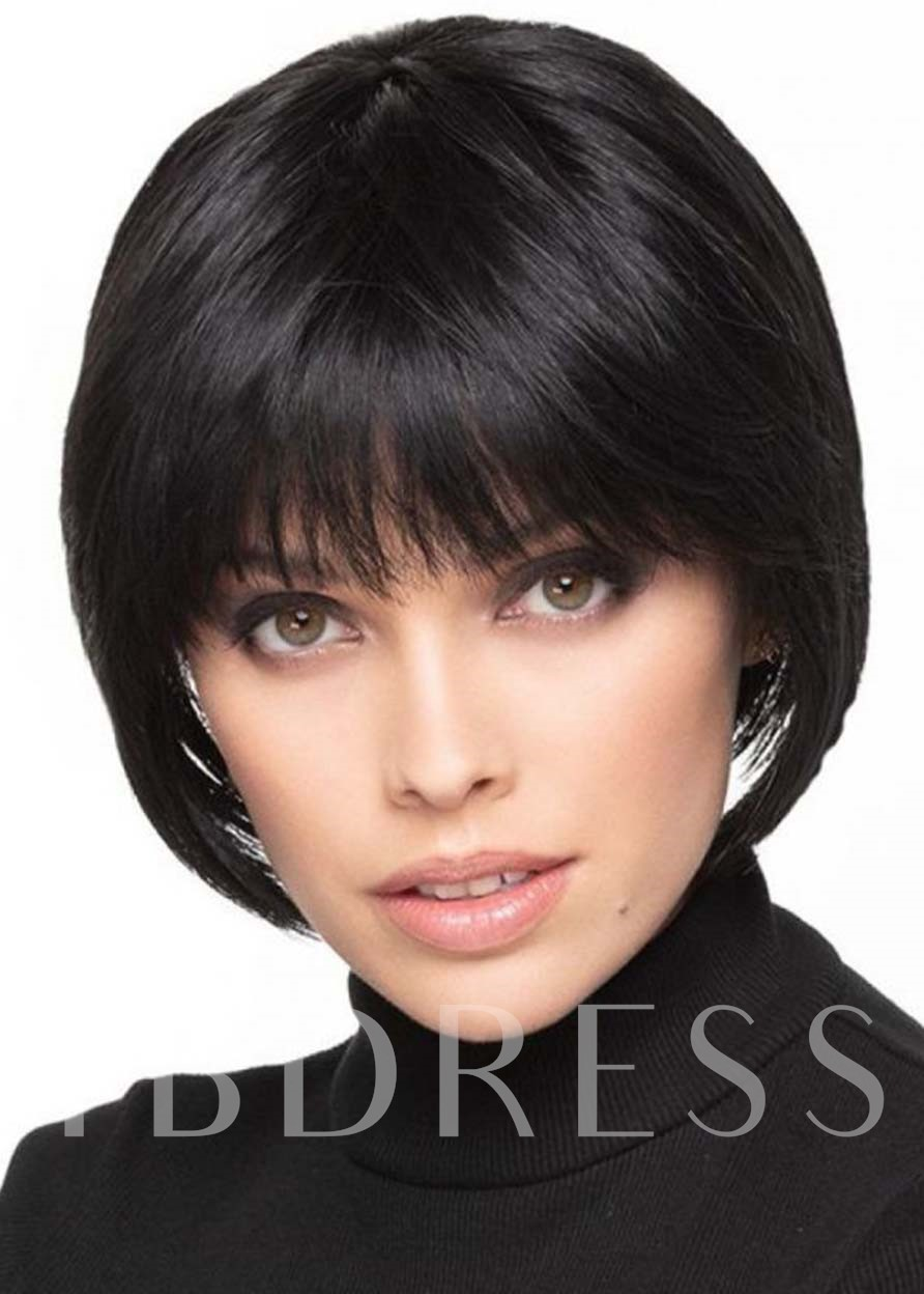 Women's Bob Style Wigs Natural Looking Straight Human Hair Capless 120% 8 Inches Wigs