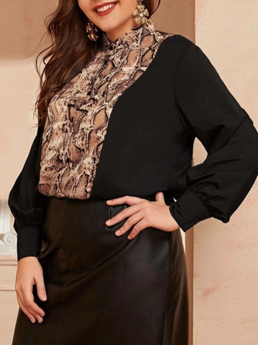 Plus Size Serpentine Button Stand Collar Long Sleeve Women's Blouse