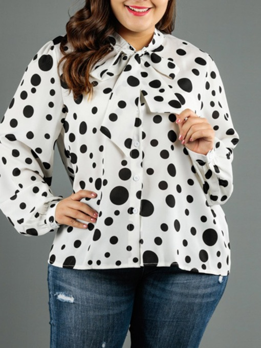 Plus Size Lace-Up Polka Dots Standard Women's Blouse