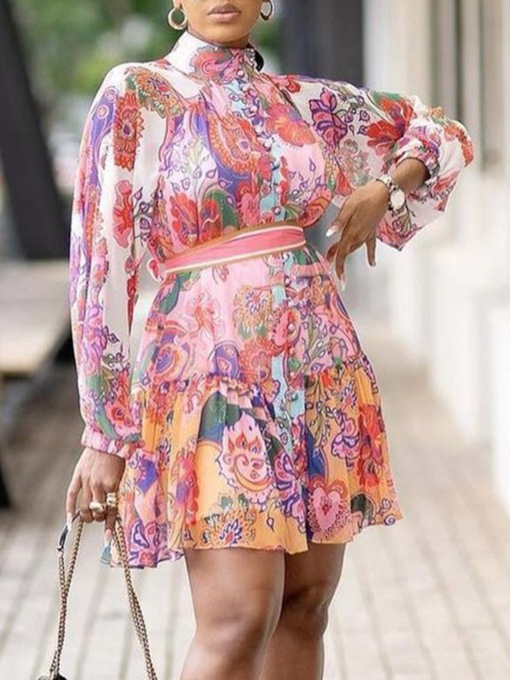 Button Above Knee Long Sleeve Turtleneck Floral Women's Dress