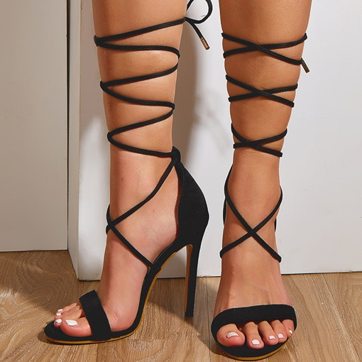Pointed Toe Stiletto Heel Lace-Up Cross Strap Sandals