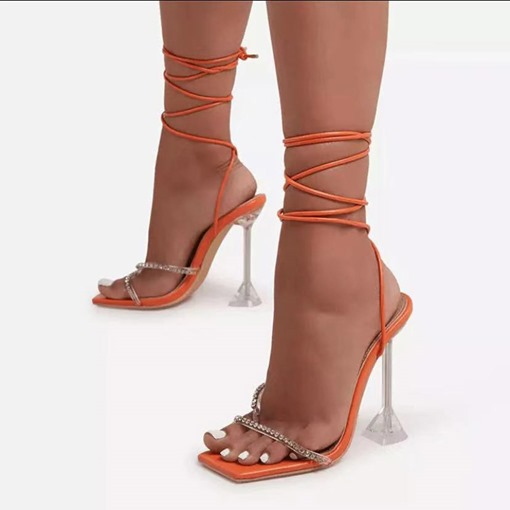 Stiletto Heel Square Toe Lace-Up Western Sandals