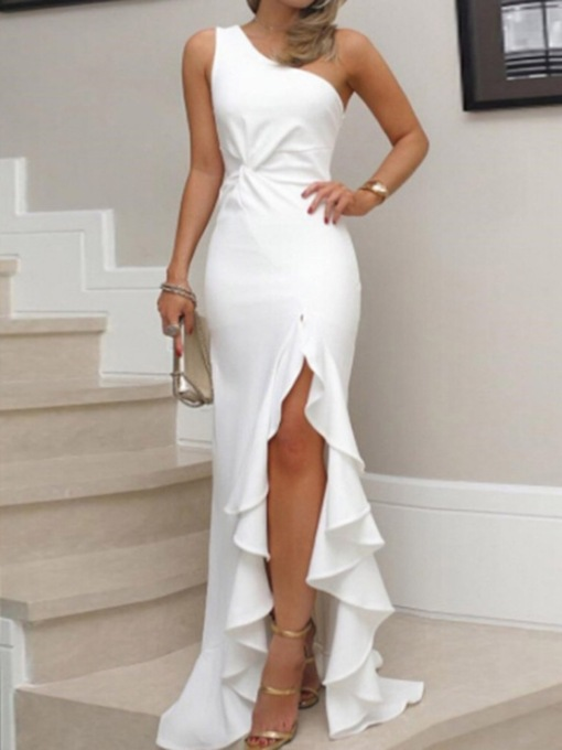 Floor-Length Sleeveless Asymmetric Oblique Collar Plain Women's Dress