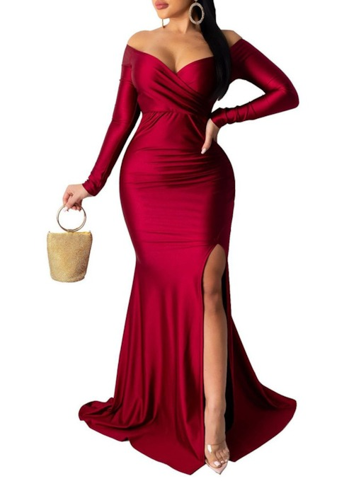 Long Sleeve Backless Floor-Length Fall Women's Dress