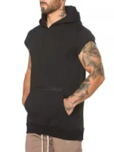 pull uni casual slim manches courtes hoodies hommes