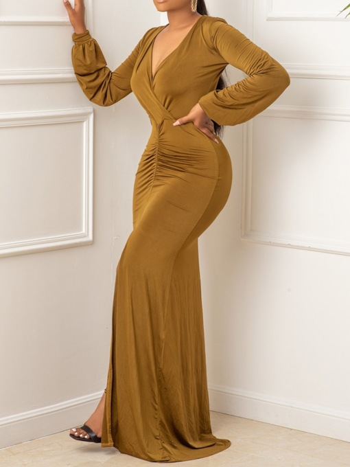 V-Neck Long Sleeve Split Floor-Length Regular Women's Dress