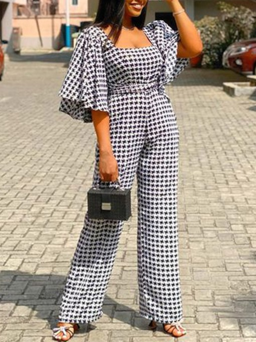 Sexy Houndstooth Full Length Backless Slim Women's Jumpsuit
