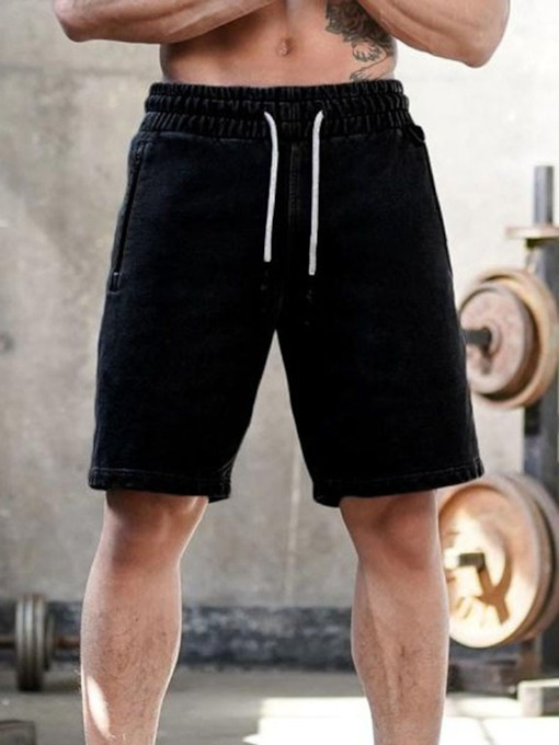 Straight Lace-Up Plain Casual Slim Men's Casual Pants
