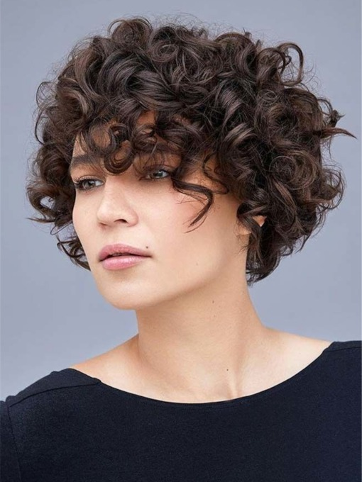 Layered Bob Hairstyles Synthetic Curly Hair Capless 130% 12 Inches Wigs